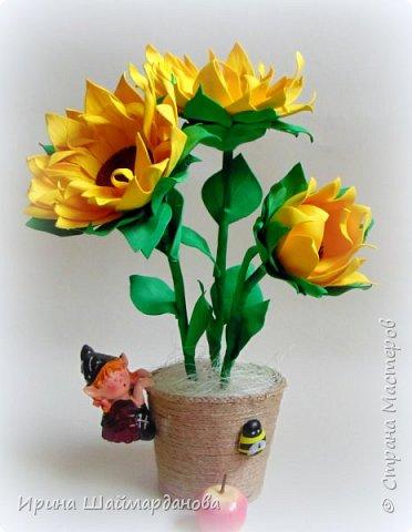 Еще один мой новенький подсолнух)) Цветы полностью ручной работы из фоамирана фото 3