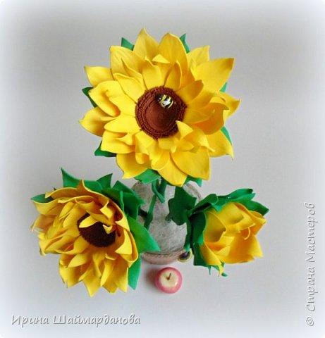Еще один мой новенький подсолнух)) Цветы полностью ручной работы из фоамирана фото 4