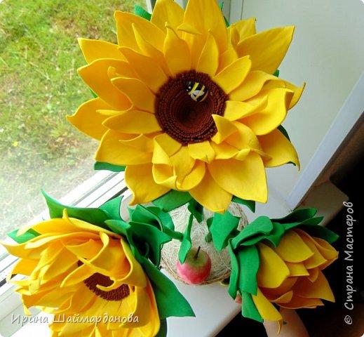 Еще один мой новенький подсолнух)) Цветы полностью ручной работы из фоамирана фото 6