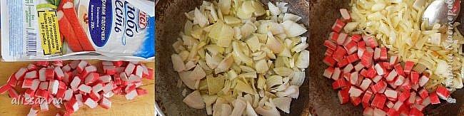 """Доброе время суток....жители Страны....Раньше я покупала в магазине """" Гавайскую смесь """"...в составе которой преобладал рис...но в какой то момент...занимаясь приготовлением ...обнаружила....что в пакете не очень много осталось этой смеси....решила разбавить продуктами...которые были дома и в итоге пришла к данному блюду....)))))))))))  Нам понадобится :  стакан риса банка кукурузы банка горошка зеленого луковица морковь ( можно взять морковь по-корейски...тогда соль и специи применяем аккуратно ) растительное масло  P. S.  в дальнейшем к смеси я стала добавлять обжаренные грибы и крабовые палочки ( тоже обжаренные )...отсюда и название..."""" Гавайский плов """" ))))))))))) Пропорции могут использоваться на ваше усмотрение...  Приготовление:   1. Нарезаем и обжариваем репчатый лук. 2. Нарезаем морковь и добавляем к луку....продолжаем обжаривать. 3. После того....как обжарили овощи...добавляем необходимое количество воды ( 1,5-2 стакана...можно использовать жидкость из банок с кукурузой и горошком...))...доводим до кипения и высыпаем рис...соль и специи 4. Накрываем крышкой и на самом маленьком огне оставляем до полной готовности риса...( 20-25 минут ) за несколько минут до готовности добавляем горошек и кукурузу....прогреваем....  P. S. когда готовлю рис...часто вместо воды использую сок от корейской моркови ( тогда не солю и не добавляю специи....потому что все уже есть в соке )  фото 3"""
