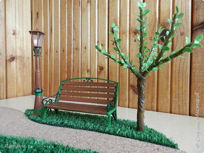 Добрый день жители Страны Мастеров.Представляю вам часть работы дома-тыквы,уличный фонарь и дерево,скамейку вы уже видели.Это небольшой скверик перед домом-тыквой. фото 1
