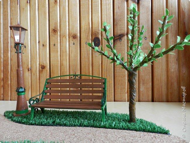 Добрый день жители Страны Мастеров.Представляю вам часть работы дома-тыквы,уличный фонарь и дерево,скамейку вы уже видели.Это небольшой скверик перед домом-тыквой. фото 41