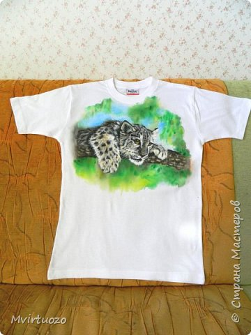 Представляю вашему вниманию очередную футболку. Малыш ягуара (в подарок подростку) фото 2
