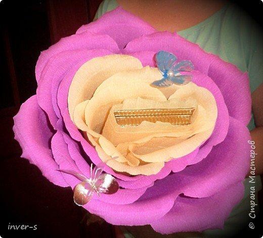 """В этом году по заказу дочери на выпускной  в подарок для учителя  сделала  """"гигантюру"""" - бутон огромной розы )). Во внутрь бутона закрепили небольшую коробочку конфет, которая спокойно без усилия извлекается из серединки бутона. В общем цветок сохраняется на память в первозданном виде, а коробочка конфет съедается при удобном случае.  Если сказать, что учитель был в восторге - это ничего не сказать))).После последнего звонка была организована фото сессия  пед.коллектива и детей с главной ролью нашего цветка)) В общем сюрприз удался!  За основу взяла изготовления большой розы, МК которого нашла на просторах и-нета.  Вот результат ). фото 1"""