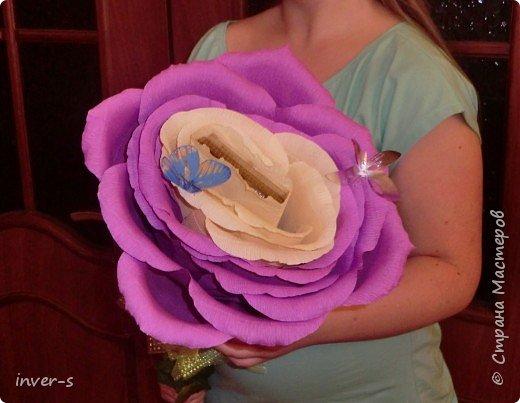 """В этом году по заказу дочери на выпускной  в подарок для учителя  сделала  """"гигантюру"""" - бутон огромной розы )). Во внутрь бутона закрепили небольшую коробочку конфет, которая спокойно без усилия извлекается из серединки бутона. В общем цветок сохраняется на память в первозданном виде, а коробочка конфет съедается при удобном случае.  Если сказать, что учитель был в восторге - это ничего не сказать))).После последнего звонка была организована фото сессия  пед.коллектива и детей с главной ролью нашего цветка)) В общем сюрприз удался!  За основу взяла изготовления большой розы, МК которого нашла на просторах и-нета.  Вот результат ). фото 3"""