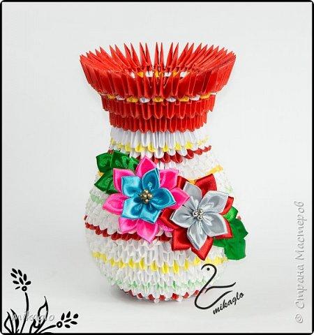 Flower vase origami 3d фото 1