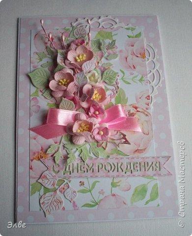 Сегодня хочу показать, как я потрудилась в первые дни лета. Одна свадебная открытка и три на дни рождения.  Бумага из свадебного набора от Скрапберис. фото 6