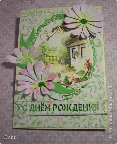 Сегодня хочу показать, как я потрудилась в первые дни лета. Одна свадебная открытка и три на дни рождения.  Бумага из свадебного набора от Скрапберис. фото 13