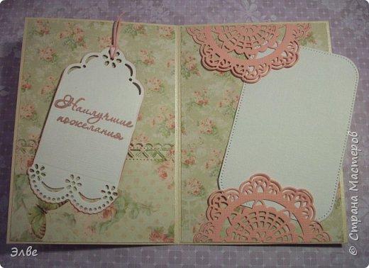 Сегодня хочу показать, как я потрудилась в первые дни лета. Одна свадебная открытка и три на дни рождения.  Бумага из свадебного набора от Скрапберис. фото 11