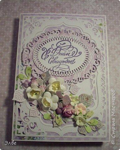 Сегодня хочу показать, как я потрудилась в первые дни лета. Одна свадебная открытка и три на дни рождения.  Бумага из свадебного набора от Скрапберис. фото 1