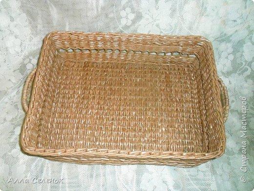 Продолжение моих плетеных подарков. Поднос прямоугольный. Водная морилка мокко разбавленная водой 1* 1,5. фото 1