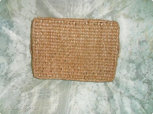 Продолжение моих плетеных подарков. Поднос прямоугольный. Водная морилка мокко разбавленная водой 1* 1,5. фото 5