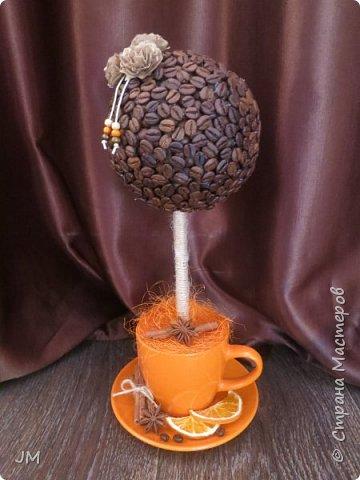 Здравствуйте! Опять меня попросили придумать подарок на юбилей для учителя английского языка и по-совместительству любительницы кофе. У меня сразу возникла идея с кофейным деревом. Это мое первое творение в этой технике. фото 1