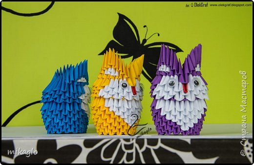 Origami 3d little owls фото 3
