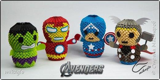 3d origami Avengers: Spiderman, Thor, Ironman, Hulk, Capitan America фото 1