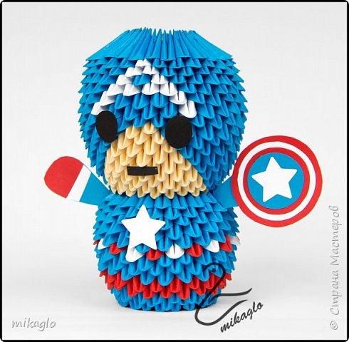 3d origami Avengers: Spiderman, Thor, Ironman, Hulk, Capitan America фото 2