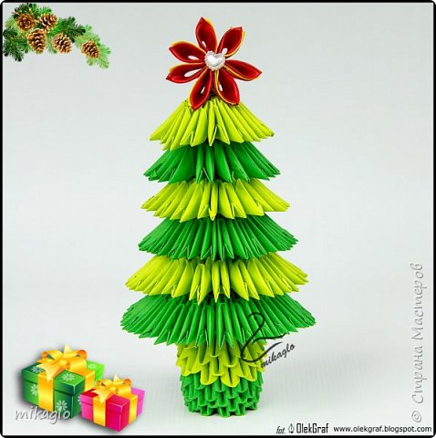 3d origami christmas tree фото 2