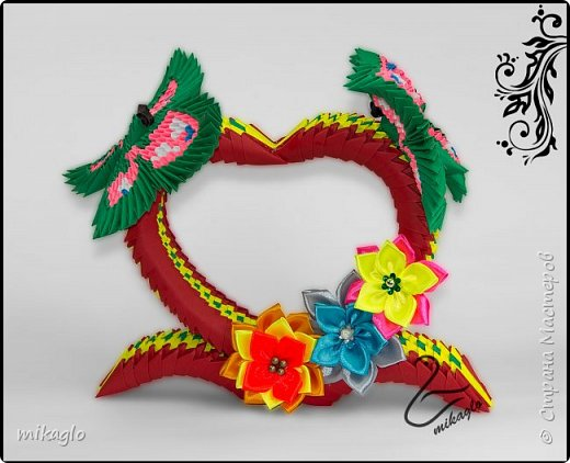 Origami 3d heart and butterflys фото 2