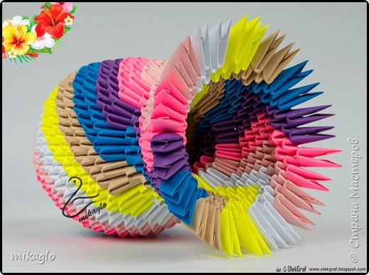 3d origami flowers and vase фото 3