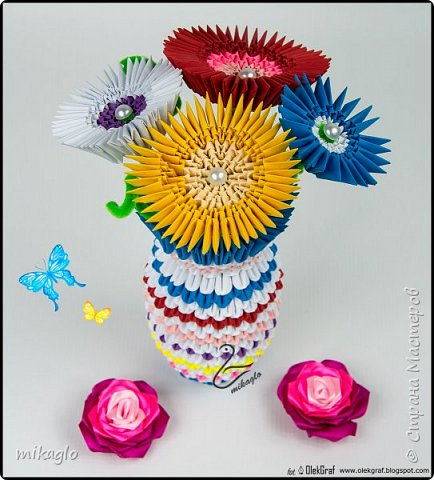 3d origami flowers and vase фото 2