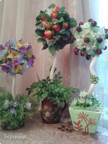 Топиарии изготовлены с применением готовых искусственных цветов, листьев, ягод. фото 1