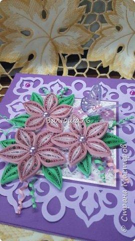 Доброго времени суток Страна! Попросили меня сделать открытку на Юбилей в фиолетовом цвете. Вот что у меня получилось.   фото 2