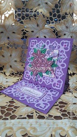 Доброго времени суток Страна! Попросили меня сделать открытку на Юбилей в фиолетовом цвете. Вот что у меня получилось.   фото 4