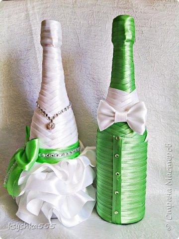 """Дорогие друзья,желаю летнего теплого солнышка и настроения)))! Красивое и совершенно роскошное оформление бутылок выполнено на заказ для свадебного бутика""""Невеста"""" фото 3"""