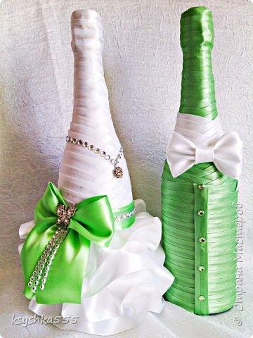 """Дорогие друзья,желаю летнего теплого солнышка и настроения)))! Красивое и совершенно роскошное оформление бутылок выполнено на заказ для свадебного бутика""""Невеста"""" фото 1"""