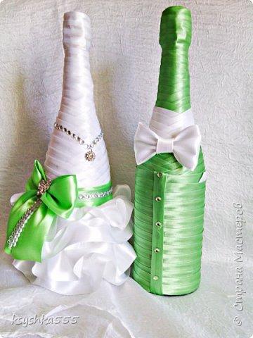 """Дорогие друзья,желаю летнего теплого солнышка и настроения)))! Красивое и совершенно роскошное оформление бутылок выполнено на заказ для свадебного бутика""""Невеста"""" фото 2"""