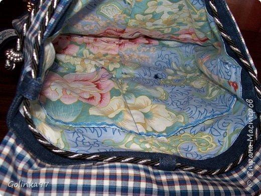 Доброе утро Страна!!! Продолжая тему джинсового настроения, сотворился вот такой рюкзачок. Коллега увидела мою сумку из джинса и попросила рюкзак сшить. Сшила. Размер 30-10-35. В ход опять пошли старые джинсы и остатки ткани в клетку, тесьма и сутаж все как всегда из хомячных запасов. фото 4