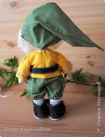 Привет всем в СМ!  Еще одного героя из сказок закончила я шить вчера. Это гномик! Очень я люблю этих милых лесных человечков! В Германии они пользуются особым уважением: во многих дворах, на садовых участках можно увидеть каменные, глиняные, деревянные фигурки гномов. Шила гномика для подарка, но, когда он был готов, поняла, что не смогу с ним расстаться. Оставлю его у себя. Пусть он приносит радость, достаток, удачу в мой дом! фото 4