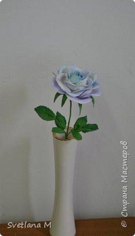 Голубая роза из фоамирана фото 4