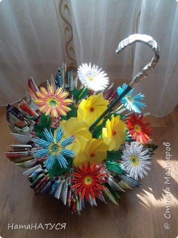 Добрый день, жители и гости СМ!!! Я с новой работой. Вот такой цветочный зонтик у меня получился. фото 7