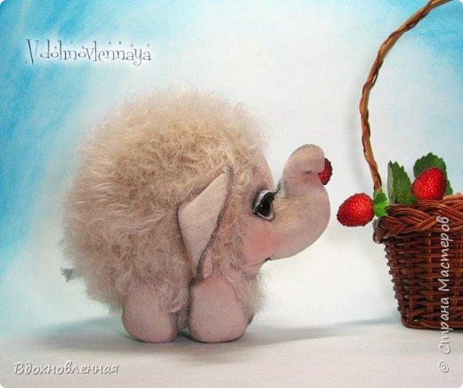 Слоненок Джемчик решил собрть ягоды, что бы отнести их лучшему другу, который заболел. Слоник Джемчик очень пыхтит и старается. Он очень хочет сделать приятное другу! Джемчик необычный маленький, круглый слоник, в пушистой шубке. Он очень похож на ребенка мамонта. Но все же, Джемчик хоть и пушистый, но он пушистый слоник :)  Слоненок Джемчик пошит из очень красивого мохера для тедди. Основа мохера хлопковая, приятного оливкового цвета, а ворс из натуральной шерсти, светло-серого цвета. Такие цветовые переходы создают интересный эффект! Ножки и мордочка сшиты из миништоффа. Панамочка слоника сшита полностью вручную из японского хлопка . Панамочка украшена хлопковым кружевом и шебби лентой. Слоник сшит так же полностью вручную.  Соединения ножек с туловищем выполнены на 4 шплинтах. Слоненок тонирован акрилом и художественной пастелью. Слоник Джемчик приятно тяжелый, круглый, теплый и пушистый! Его так приятно держать в руках! фото 6