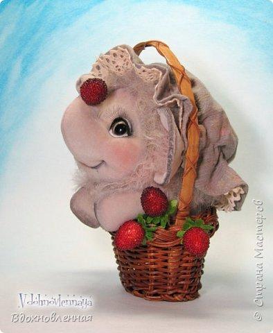 Слоненок Джемчик решил собрть ягоды, что бы отнести их лучшему другу, который заболел. Слоник Джемчик очень пыхтит и старается. Он очень хочет сделать приятное другу! Джемчик необычный маленький, круглый слоник, в пушистой шубке. Он очень похож на ребенка мамонта. Но все же, Джемчик хоть и пушистый, но он пушистый слоник :)  Слоненок Джемчик пошит из очень красивого мохера для тедди. Основа мохера хлопковая, приятного оливкового цвета, а ворс из натуральной шерсти, светло-серого цвета. Такие цветовые переходы создают интересный эффект! Ножки и мордочка сшиты из миништоффа. Панамочка слоника сшита полностью вручную из японского хлопка . Панамочка украшена хлопковым кружевом и шебби лентой. Слоник сшит так же полностью вручную.  Соединения ножек с туловищем выполнены на 4 шплинтах. Слоненок тонирован акрилом и художественной пастелью. Слоник Джемчик приятно тяжелый, круглый, теплый и пушистый! Его так приятно держать в руках! фото 8