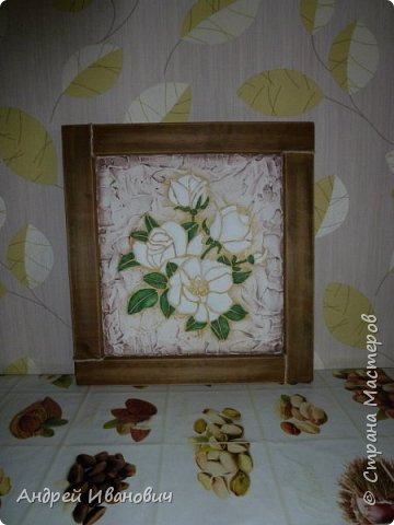 Изображение и фон ---- шпатлёвка Раскрашено гуашью  Рамка декорирована шпагатом Изображение и фон ---- шпатлёвка Раскрашено гуашью  фото 3