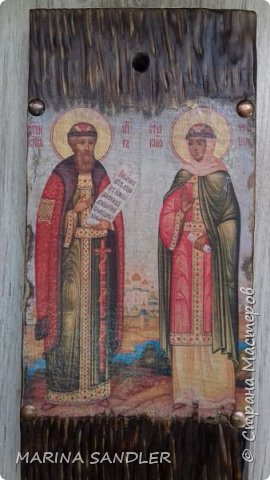 Доброго времени суток, соседи!  Святые Пётр и Феврония Муромские. Складень сделала для нас с мужем. Липа - состаривание, декупаж распечаткой, воск. фото 10