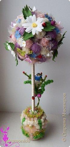 Добрый вечер всем! Ах, лето...цветы, ромашки, зелень, птички... ))) ... вот такой топиарчик летний и весёлый получился. Делала на подарок подруге.   фото 1