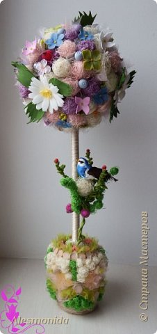 Добрый вечер всем! Ах, лето...цветы, ромашки, зелень, птички... ))) ... вот такой топиарчик летний и весёлый получился. Делала на подарок подруге.   фото 2