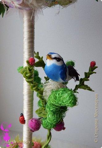Добрый вечер всем! Ах, лето...цветы, ромашки, зелень, птички... ))) ... вот такой топиарчик летний и весёлый получился. Делала на подарок подруге.   фото 3