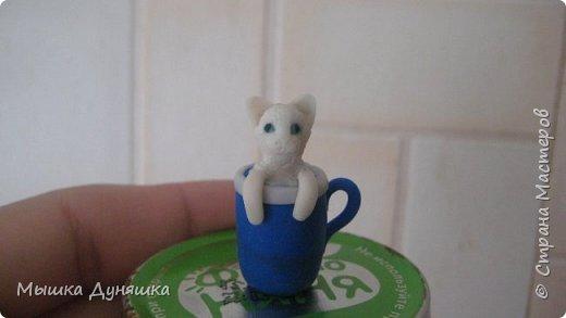Здравствуйте! Уважаемая Страна Мастеров!!! С праздником вас, с Днем России! К этому знаменательному Дню решила смастерить, (если можно так сказать), вот такую кружечку с котенком. Это изделие сочетает в себе 3 цвета: Белого котенка, синюю кружку и красное блюдце.  фото 14