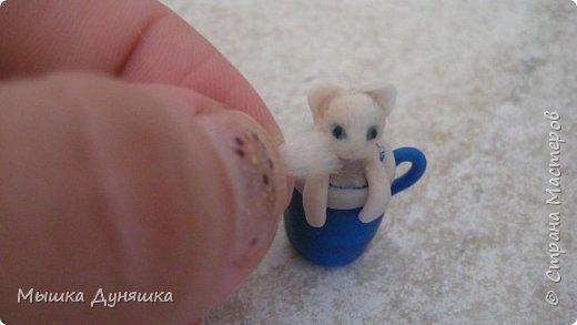 Здравствуйте! Уважаемая Страна Мастеров!!! С праздником вас, с Днем России! К этому знаменательному Дню решила смастерить, (если можно так сказать), вот такую кружечку с котенком. Это изделие сочетает в себе 3 цвета: Белого котенка, синюю кружку и красное блюдце.  фото 15