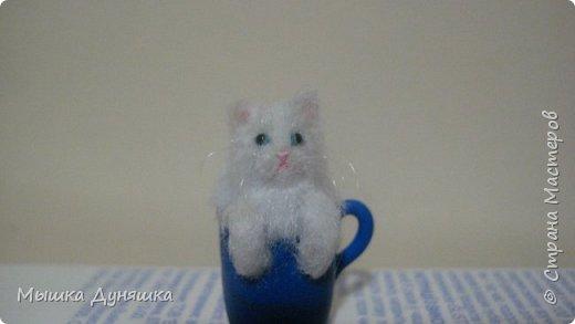 Здравствуйте! Уважаемая Страна Мастеров!!! С праздником вас, с Днем России! К этому знаменательному Дню решила смастерить, (если можно так сказать), вот такую кружечку с котенком. Это изделие сочетает в себе 3 цвета: Белого котенка, синюю кружку и красное блюдце.  фото 21
