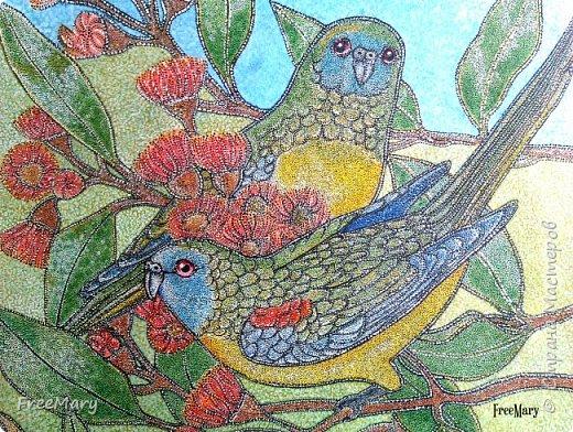 Моя первая картина под стекло, размер 30 х 40  (А3) на акварельной бумаге. Рисовала акварелью, гелевыми ручками: черной, серебряной, белой.   фото 7