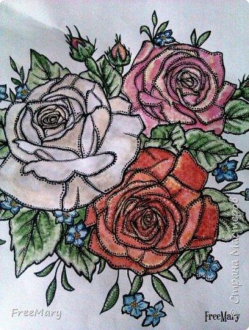 Моя первая картина под стекло, размер 30 х 40  (А3) на акварельной бумаге. Рисовала акварелью, гелевыми ручками: черной, серебряной, белой.   фото 14