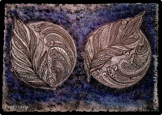 Моя первая картина под стекло, размер 30 х 40  (А3) на акварельной бумаге. Рисовала акварелью, гелевыми ручками: черной, серебряной, белой.   фото 9