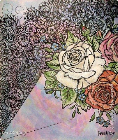 Моя первая картина под стекло, размер 30 х 40  (А3) на акварельной бумаге. Рисовала акварелью, гелевыми ручками: черной, серебряной, белой.   фото 13