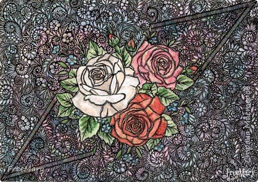 Моя первая картина под стекло, размер 30 х 40  (А3) на акварельной бумаге. Рисовала акварелью, гелевыми ручками: черной, серебряной, белой.   фото 12