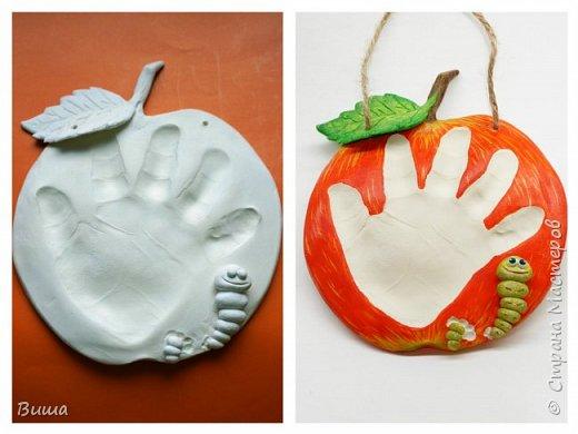 Вот такая идея родилась для слепка ручки ребёнка (червячок выгрыз в яблоке). Малышу год и три т.ч. ручонка уже не малюсенькая.  фото 2